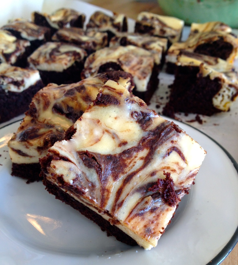 Marbled Cheesecake Brownies | KellyintheKitchen  | For brownie layer: 6 tbsp butter, 1 cup semisweet chocolate chips, 3/4 cup packed brown sugar, splash of vanilla extract, 2 eggs, 1/4 cup unsweetened cocoa powder, 2 packed tbsp coconut flour, 3 tbsp potato starch (I haven't tried it, but corn starch should work here, too), 1/2 tsp baking soda, 1/4 tsp salt. For cheesecake layer: 8 oz cream cheese, 1/4 cup granulated sugar, 1 tsp vanilla, 1 egg