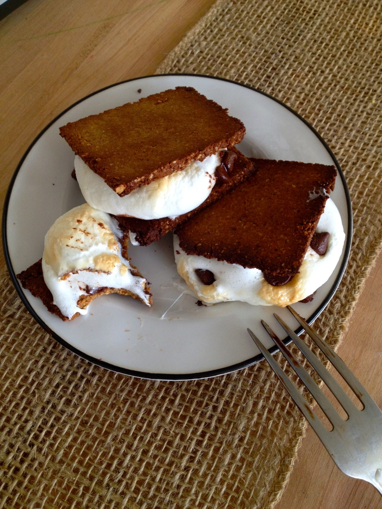 S'mores with Homemade Spiced Graham Crackers | KellyintheKitchen | Ingredients: 1 cup plus 2 tbsp almond meal (or grind up about 1 cup of whole almonds), 1/4 cup coconut flour, 1 tsp potato starch (or use arrowroot powder), 1/2 tsp baking powder, 1/4 tsp baking soda, 1/4 tsp ground cinnamon, 1/4 tsp ground ginger, pinch of salt, 1 tbsp maple syrup, 2 tbsp plus 2 tsp room temperature butter, 1 1/2 tbsp molasses, 1 tbsp milk, splash of vanilla, jumbo marshmallows, chocolate