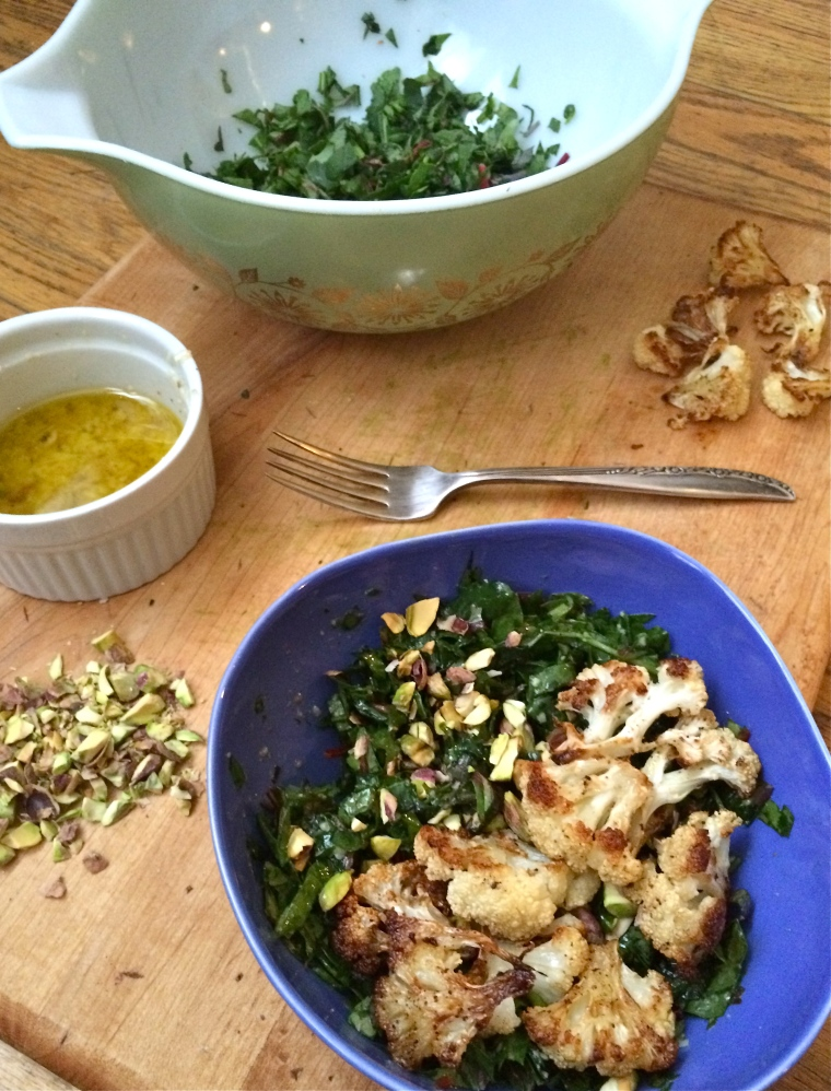 Lemon Parmesan Kale Salad with Pistachios and Roasted Cauliflower | KellyintheKitchen.net | extra virgin olive oil, lemon juice, dijon mustard, honey, granulated garlic, salt, pepper, parmigiano-reggiano cheese, pistachios, kale, cauliflower, cayenne pepper, olive oil
